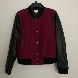 J. Crew Wool Blend/Faux Leather Sleeves Jacket